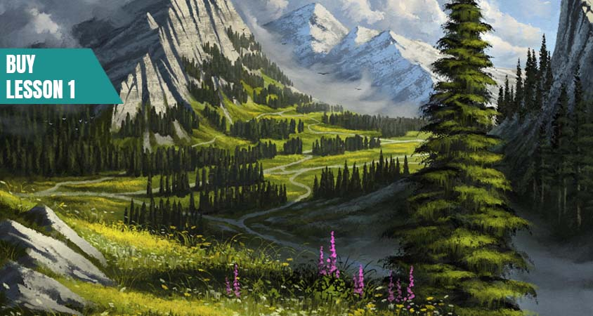 Digital Painting Course Tutorial Lesson for Landscapes