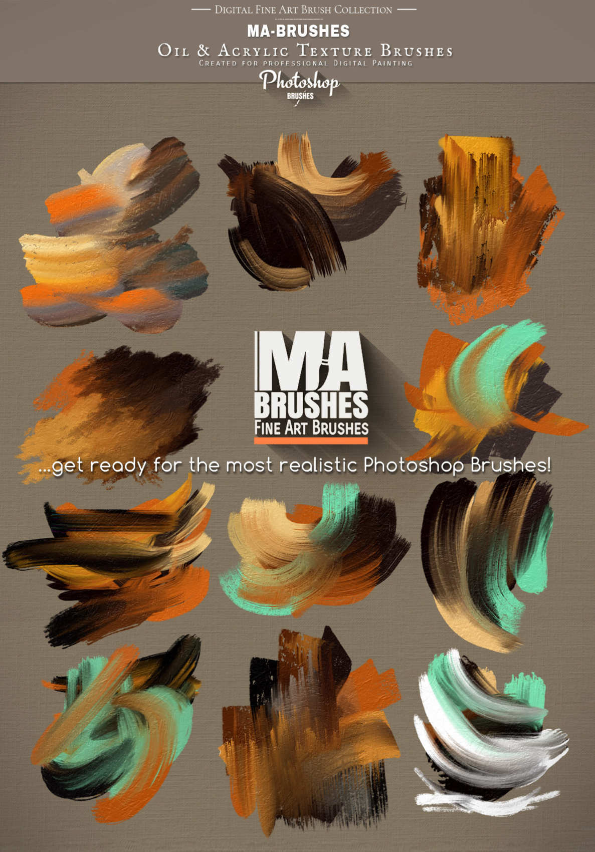 Photoshop Brushes for Painting with Oil Texture - 416 Realistic