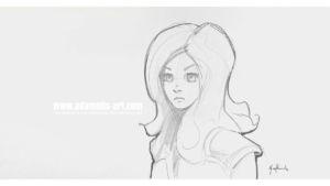 Sketch little girl Concept Art by Michael Adamidis